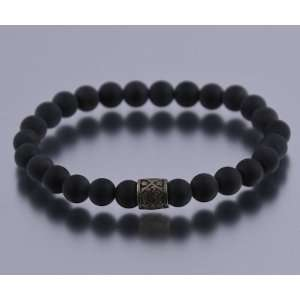 8mm Matte Black Onyx with Bullet Finish Inset Bead Bracelet RM 1089S