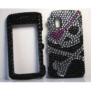 BLACK SKULL WITH PINK EYE PATCH FULL DIAMOND RHINESTONE SNAP ON HARD