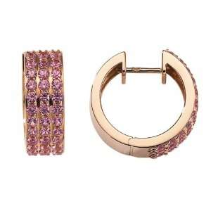 18ct Rose Gold Pink Sapphire Hoop Earrings Jewelry