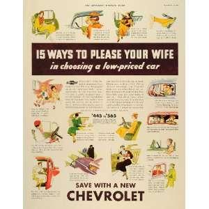 1933 Ad General Motors Chevrolet Cartoon Pleased Wife
