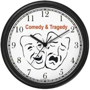 Comedy & Tragedy   Acting Actor Symbols Wall Clock by