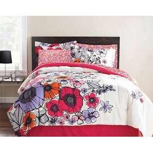 Pink, Purple & Orange Flowers Twin Comforter Set (6 Piece