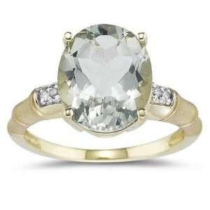 3.97 Carat Green Amethyst and Diamond Ring in 14K Yellow