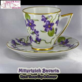 voilets demi cup saucer set by mitterteich bavaria china germany