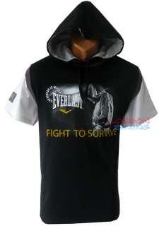 EVERLAST Authentic Boxing Black  Grey Hooded T Shirt ★ LAST FEW