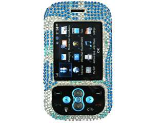 BLUE SILVER DIAMOND BLING CRYSTAL FACEPLATE CASE COVER LG NEON GT365