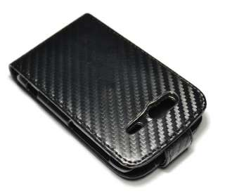 New Black Carbon fiber flip Hard Leather case Holster for HTC Wildfire