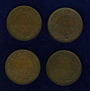CANADA GEORGE V LARGE CENT COINS 1912, 1913, 1914, & 1919, NICE