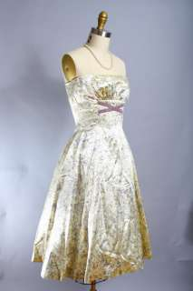 Vtg 50s Cream Satin Strapless Party Wedding Dress XS