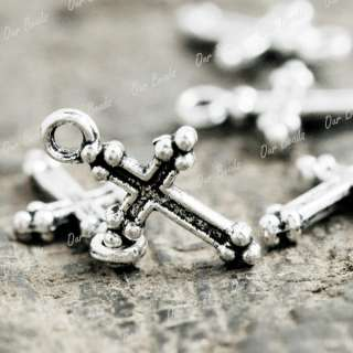 150Tibet Tibetan Silver Jesus Cross Charm Pendant TS792