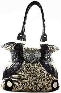 Western Faux Fur Zebra Leopard Animal Print Triple Heart Emblem Purse