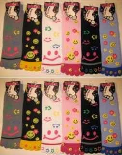 Lot 12 Pair Women Assorted Design Toe Socks SMILEY FACE