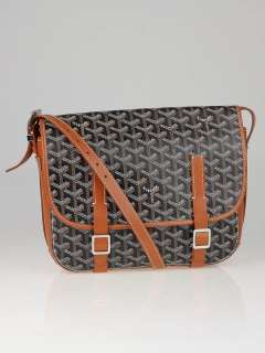 Goyard Black Chevron Print Coated Canvas Belvedere MM Saddle Bag