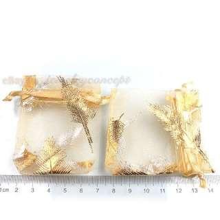 50x 120402 Wholesale Golden Leaf Wedding Favor Organza Gift Bag Free P