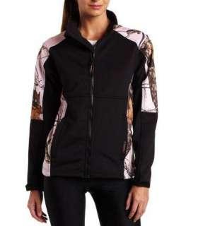 Yukon Gear Womens Windproof Fleece Jacket, Black/Mossy Oak Pink Snow