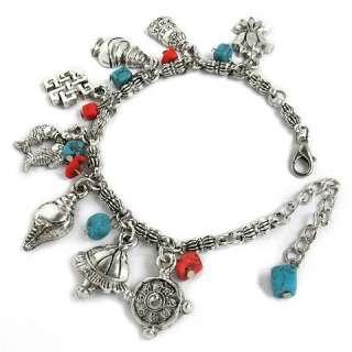 Tibetan Silver 8 Auspicious (Lucky) Symbols Dangle Amulet Bracelet