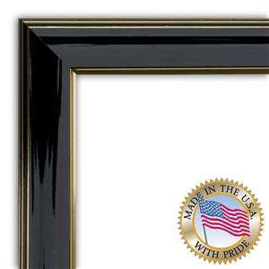 Shiny Black with Gold Trim diploma Picture Frame