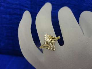 TONE GOLD DIAMOND CLUSTER .16 CT TW LIGHTNING BOLT DESIGN RING, SIZE 6