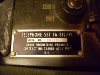 US ARMY VIETNAM WAR COMBAT MILITARY FIELD PHONE SET RADIO TA 312 / PT