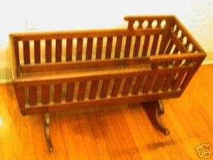 Circa 1860 Antique Wood Baby Cradle / Rocking