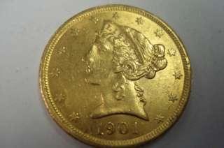 US 5 DOLLAR HALF EAGLE LIBERTY HEAD GOLD COIN 1901 S