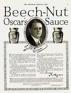 1914 AD Beech Nut Oscars Sauce Canajoharie, N.Y. advertising