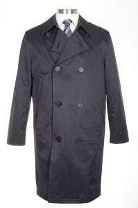495 Kenneth Cole NY Mens 42L Black Double Breasted Rain Coat