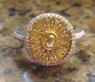 RITANI 1.28ct Canary Yellow & White DESIGNER DIAMOND Engagement Ring