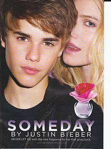 2011 JUSTIN BIEBER SOMEDAY PERFUME 2 Sided Magazine Print Ad