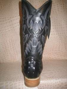 New Mens 2011 Embossed Crocodile X Toe Black Leather Western Cowboy