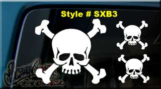 SKULL AND X CROSS BONES VINYL DECAL STICKER WINDOW