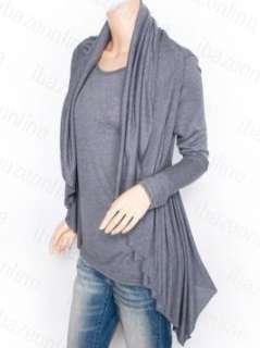 Ways Gray Asymmetric Hem Ruffles Long Sleeves Shirt Blouse M