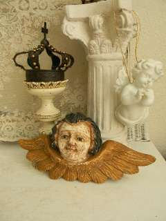 OMG The Best Old Carved Wooden Architectural Cherub~Glass Eyes~So