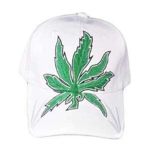 GANJA WEED MARIJUANA CANNABIS POT LEAF HAT CAP WHITE