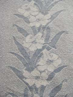 vtg 30s 40s Blue Wht Nubby Floral Brocade Drapes Fabric