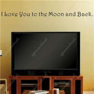 love you to moon and back words and letters quote decals