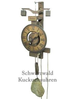 Wooden Clock Black Forest 1640 Replica One Handed Clock