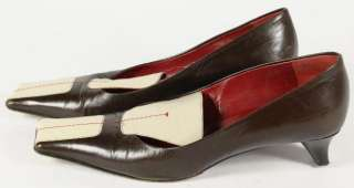 Prada Brown Leather Ivory Red Stitched Square Toed 60s Style Pumps