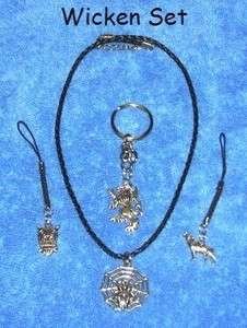 WICCAN NECKLACE SET GOTH WOLF OWL CELTIC WEB SILVER 58