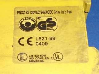 SAFETY RELAY PNOZ X3 120VAC 24VAC/DC 3N/O 1N/C 1SO *LOT OF 4*