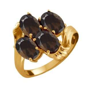 3.00 Ct Oval Brown Smoky Quartz 10k Yellow Gold Ring Jewelry
