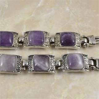 Vintage Look Tibetan Silver Alloy Square Amethyst Bead Cocktail Cuff