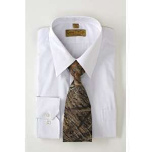 White Dress Shirt and Mossy Oak Breakup Tie Set (Large) Sports
