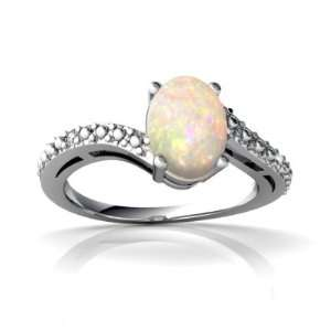 14K White Gold Oval Genuine Opal Ring Size 9 Jewelry