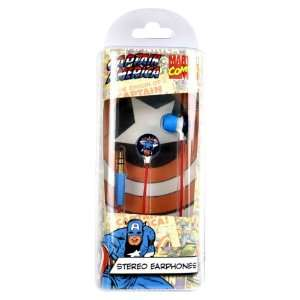 Marvel Comics Captain America In Ear Stereo Headphones