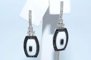 15CT WHITE ONYX, BLACK & WHITE DIAMOND DANGLE EARRINGS 10K WHITE GOLD