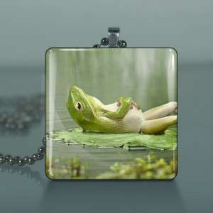 Frog On Lily Pad Altered Art Glass Necklace Pendant 483