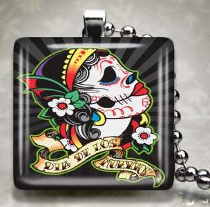 Dia De Los Muertos Tattoo Skull Glass Necklace 486 L