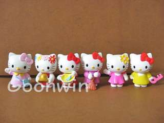 Set of 6pc Hello Kitty Painting Cleaning Series Figure 4cm