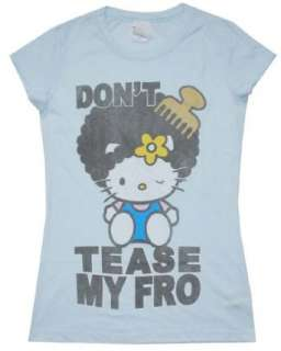 Mighty Fine Woman Afro Hello Kitty Light Aqua T Shirt Clothing